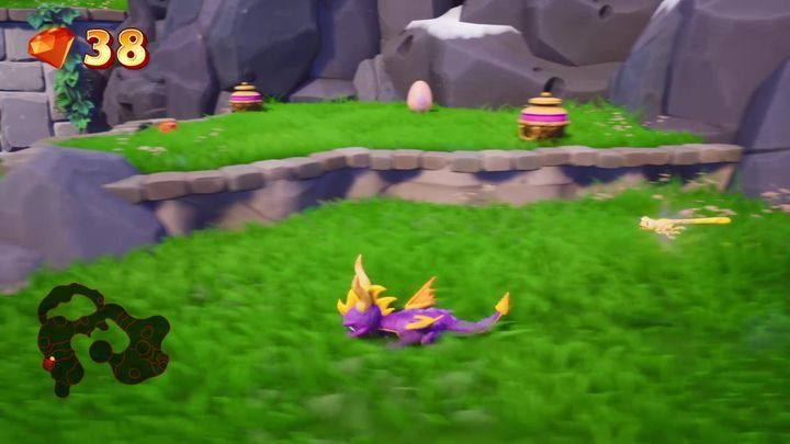 At the top, there is the entrance to Sunny Villa level - Sunrise Spring | Spyro: Year of the Dragon Walkthrough - Sunrise Spring - Spyro Reignited Trilogy Guide