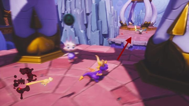 You can jump from the top of the building onto the next platform - Cloud Spires | Spyro: Year of the Dragon Walkthrough - Sunrise Spring - Spyro Reignited Trilogy Guide