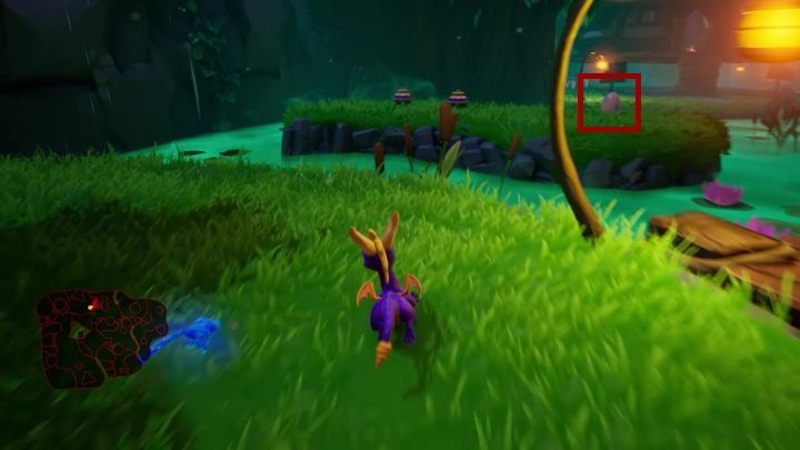 The egg is on the island which you can access by reaching the edge of the glade (the one where the second house is) - Eggs - Secrets and mysteries - Spyro Reignited Trilogy Guide