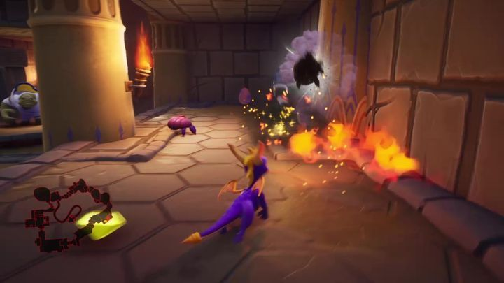 After the first pit with falling rocks, you will reach a room with a ladder - Eggs - Secrets and mysteries - Spyro Reignited Trilogy Guide