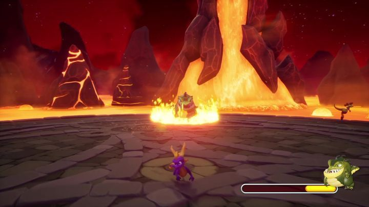 In the final stage of the fight, Buzz will also launch fiery missiles - Buzz - Bosses - Spyro Reignited Trilogy Guide