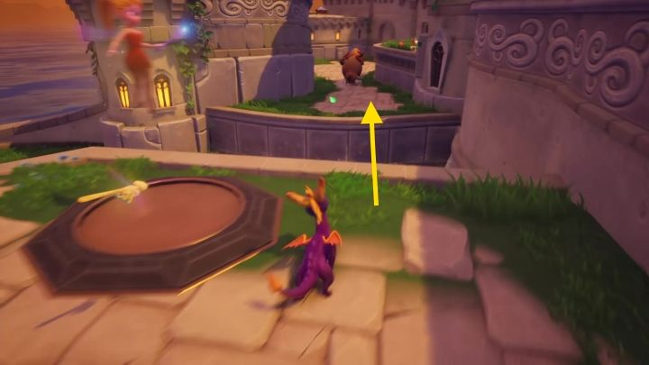 Then fly onto the lower shelf, which is patrolled by bulls - Town Square | Spyro The Dragon Walkthrough - Artisans - Spyro Reignited Trilogy Guide
