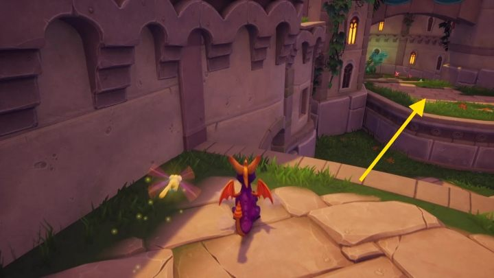 Then go to the platform below the point where you are - Town Square | Spyro The Dragon Walkthrough - Artisans - Spyro Reignited Trilogy Guide