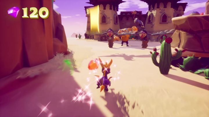 After leaving the tunnel you will find yourself in a vast, open area with a castle in the middle - Dry Canyon | Spyro The Dragon Walkthrough - Peace Keeper - Spyro Reignited Trilogy Guide