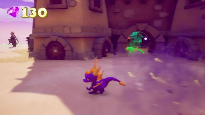 After you exit the tunnel, youll see a building guarded by a gnorc and two vultures - Dragons | Secrets & Curios in Spyro Reignited Trilogy - Secrets & Curios - Spyro Reignited Trilogy Guide