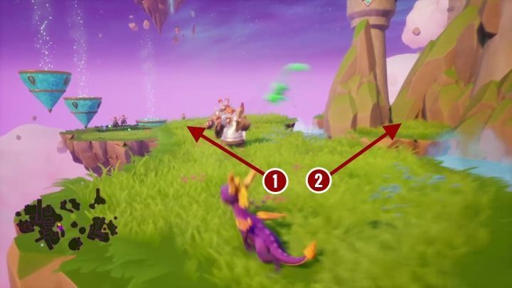 When you turn left [1] you will find three teleports standing next to each other - Dream Weavers | Spyro The Dragon Walkthrough - Dream Weavers - Spyro Reignited Trilogy Guide
