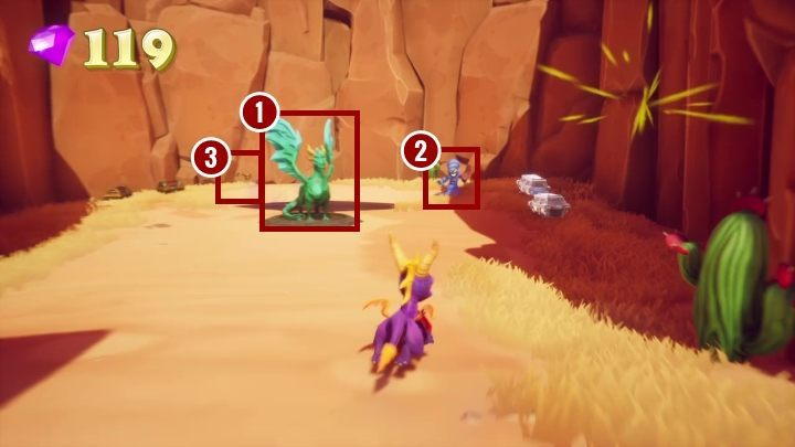 When choosing the latter, you will find the last dragon [1] you have to save on this map, eggs [2], and the key [3] - Peace Keeper | Spyro The Dragon Walkthrough - Peace Keeper - Spyro Reignited Trilogy Guide