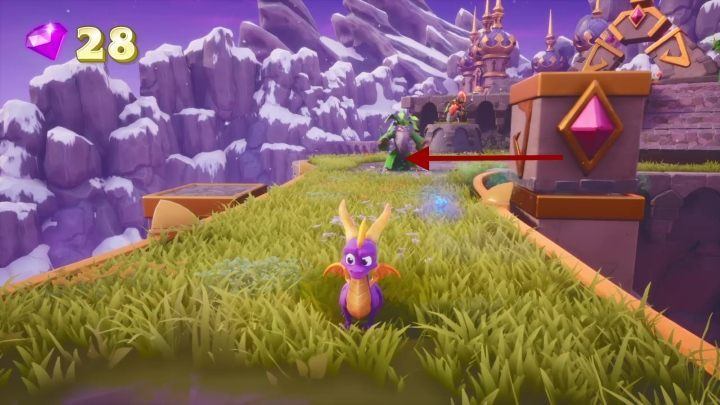 Follow the path - you will come across another beast and a druid who moves rocks - Alpine Ridge | Spyro The Dragon Walkthrough - Magic Crafters - Spyro Reignited Trilogy Guide