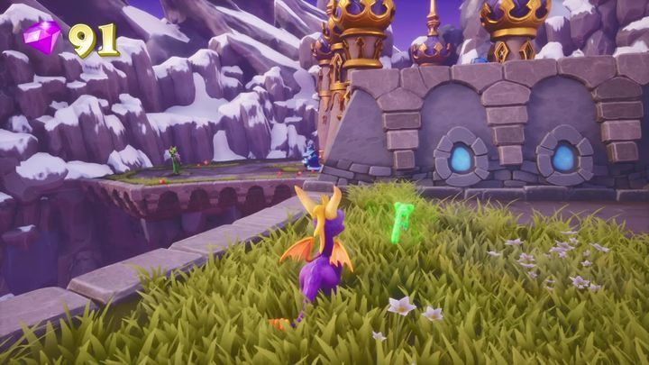 Jump on the distant platform - the one where a druid and a wizard are fighting - Alpine Ridge | Spyro The Dragon Walkthrough - Magic Crafters - Spyro Reignited Trilogy Guide