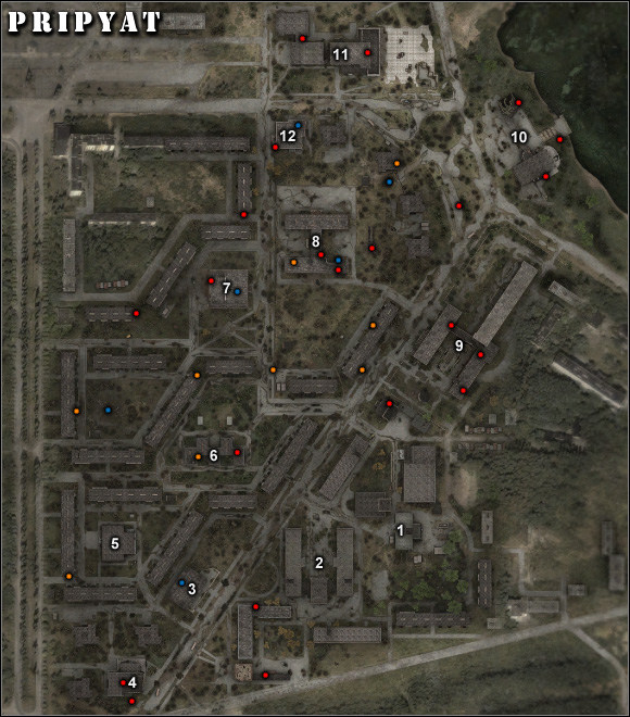 Important locations on the map: 1) Laundromat – the main base in the Pripyat