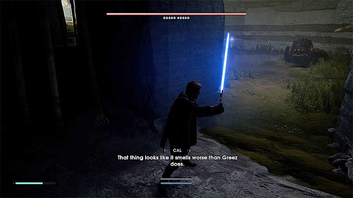 The cave is very dark, but you can use the lightsaber as a flashlight - Oggdo Bogdo (Bogano planet) | Fallen Order Boss - Bosses - Star Wars Jedi Fallen Order Guide