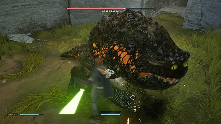 Attack the toad immediately after each dodged attack - Oggdo Bogdo (Bogano planet) | Fallen Order Boss - Bosses - Star Wars Jedi Fallen Order Guide