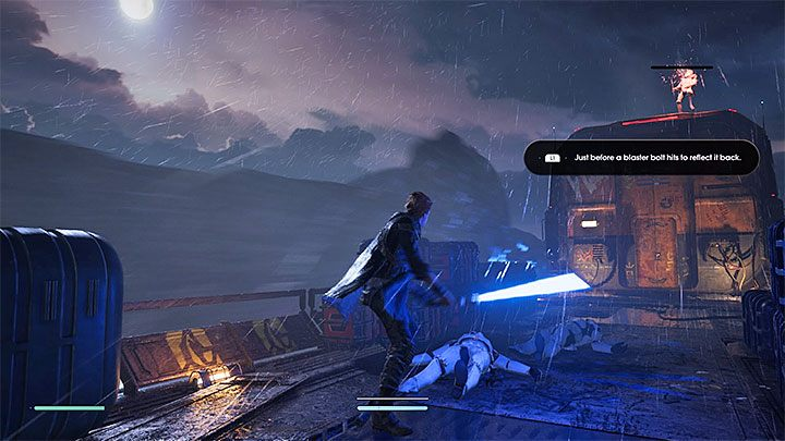 After exiting the railcar, the game will suggest you learn how to block and deflect projectiles with the lightsaber - Prologue | Fallen Order Walkthrough - Main Story - Star Wars Jedi Fallen Order Guide