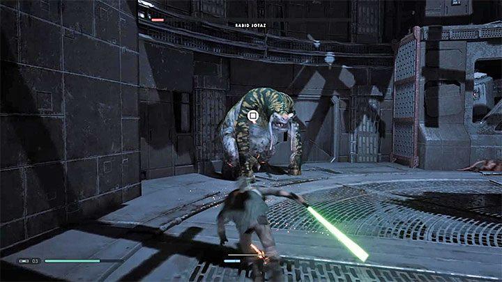In the final phase of the battle, the attack icon can appear above Rabid Jotazs head - Rabid Jotaz (Zeffo) | Fallen Order Boss - Bosses - Star Wars Jedi Fallen Order Guide