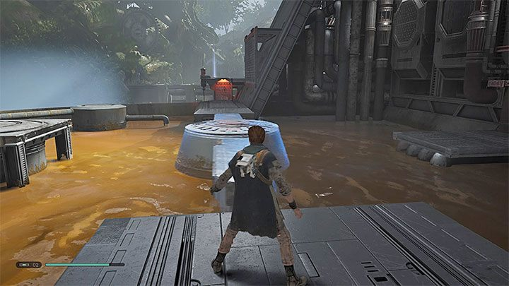 Walk up to the rotating mechanism and use Force Slow when it is in a position that allows you to run straight (the picture above) - Chapter 3 Kashyyyk | Fallen Order Walkthrough - Main Story - Star Wars Jedi Fallen Order Guide