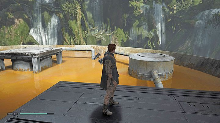 Turn left and jump on the platforms located above the poison tank - Chapter 3 Kashyyyk | Fallen Order Walkthrough - Main Story - Star Wars Jedi Fallen Order Guide