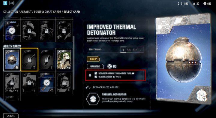 Cada tarjeta se puede actualizar: necesitará piezas de fabricación y un cierto rango.  - ¿Cómo obtener tarjetas de actualización?  - Preguntas frecuentes - Guía del juego Star Wars Battlefront 2