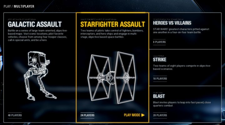 There are 6 available game modes. However, the Arcade Mode, accessed through the main menu, works as a training. - Game modes - Tips and advise - Star Wars Battlefront 2 Game Guide