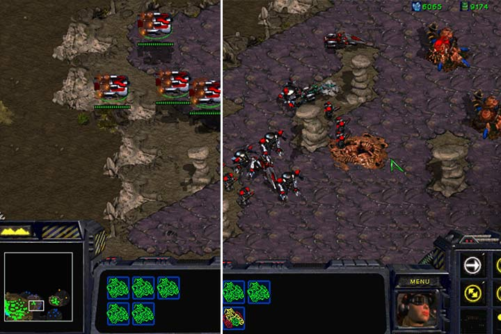 A part of the right edge of the plateau near your base isnt guarded by antiaircraft Turrets. Launch a landing and destroy the few enemies that can endanger your troops. - Mission 6 - Norad II | Terran | Campaign Walkthrough - Terrans - StarCraft: Remastered Game Guide