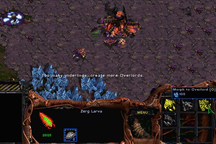 The zerg mutate their Larvae into other units instead of producing them in, for example, Barracks. This is why its a good idea to build more Hatcheries. Overlords provide control over an increasingly bigger population. - Mission 1 - Among the Ruins | Zerg | Campaign Walkthrough - Zerg - StarCraft: Remastered Game Guide