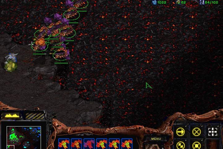 Destroy the lone Turret in the left corner and then deploy land forces on the plateau below. - Mission 4 - Agent of the Swarm | Zerg | Campaign Walkthrough - Zerg - StarCraft: Remastered Game Guide