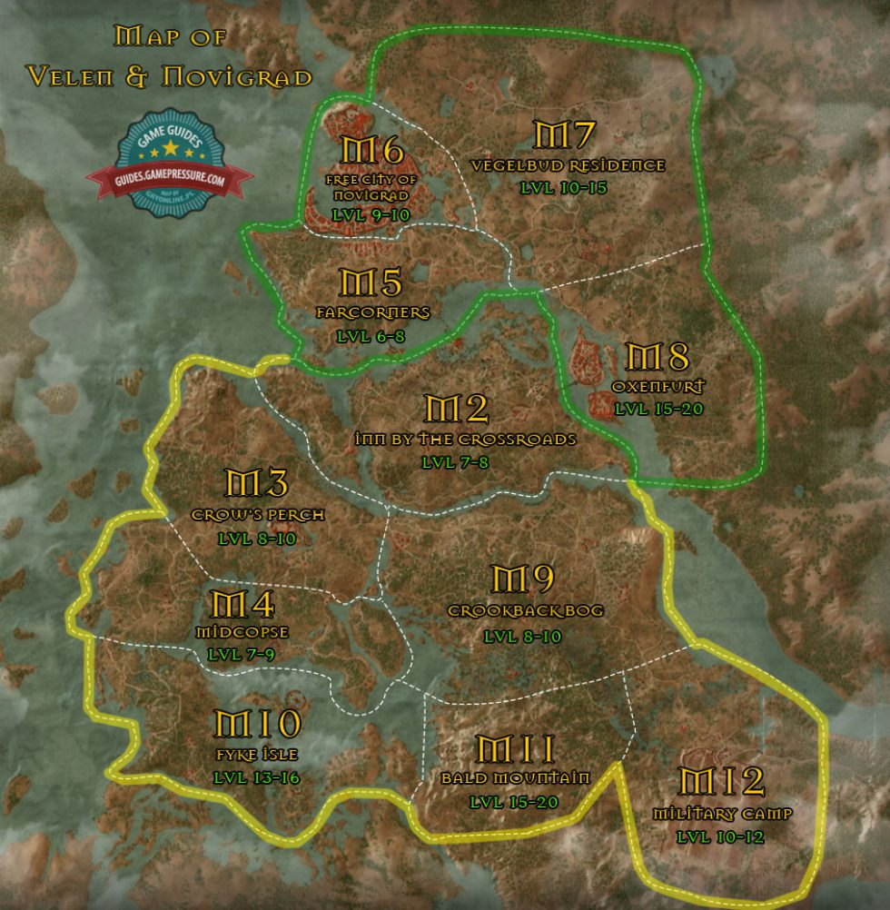 Map of Novigrad Oxenfurt and surroundings The Witcher 3 Wild
