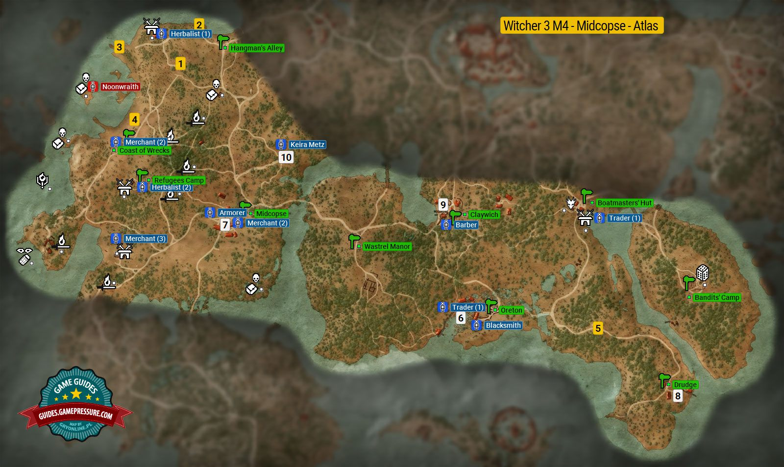 Map of important locations in Midcopse M4 - The Witcher 3: Wild Hunt ...