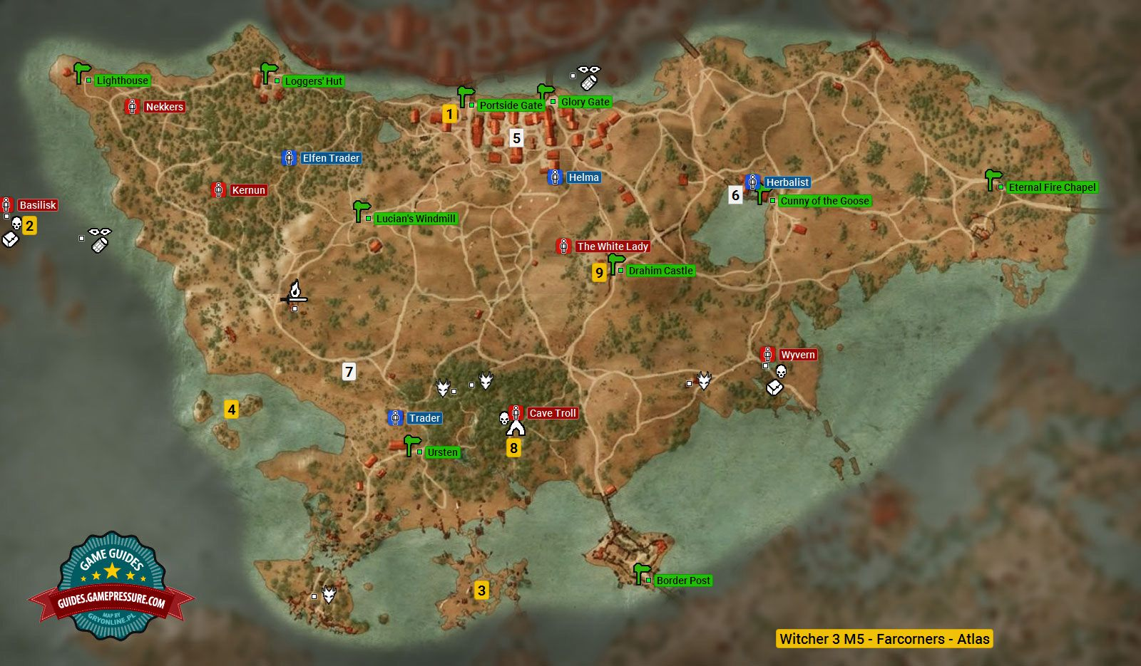 Map of important locations in farcorners m5 the witcher 3 wild enlarge this map gumiabroncs Image collections