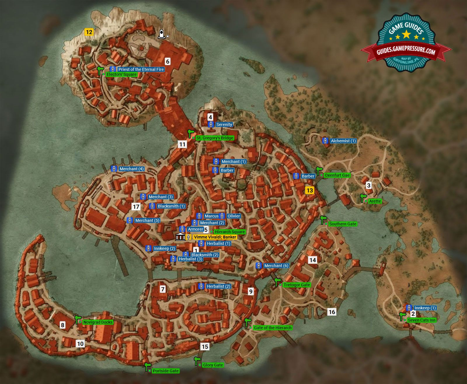 Gwent card locations the witcher 3 - Witcher 3 M6 Free City Of Novigrad Atlas