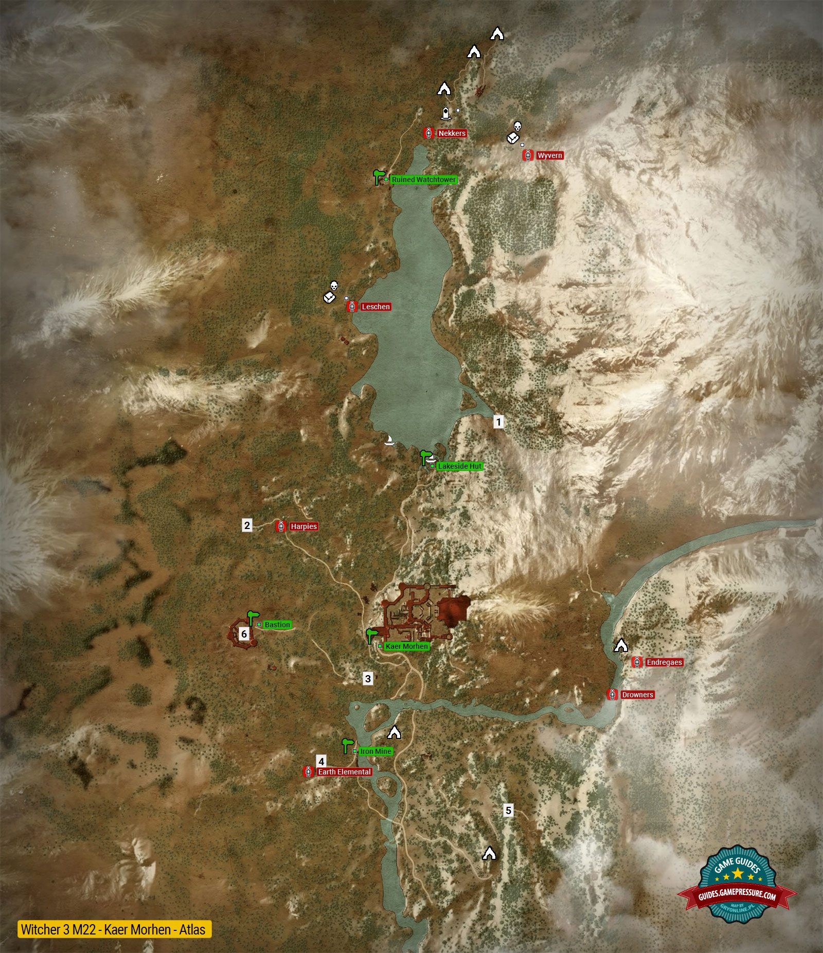 Map of important locations in Kaer Morhen M22 - The Witcher 3: Wild ...