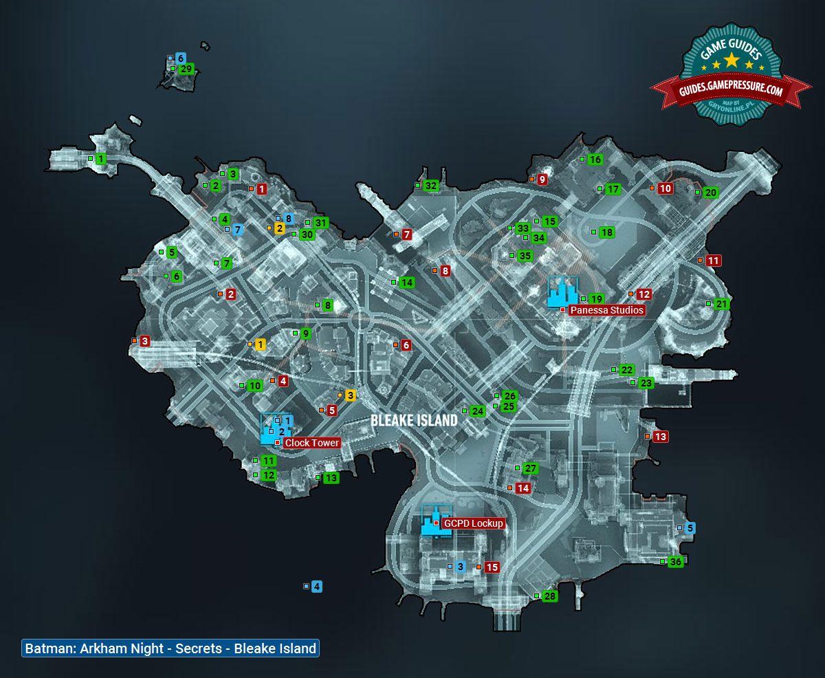 Batman Arkham Knight Map Map of Bleake Island | Collectibles   Bleake Island   Batman