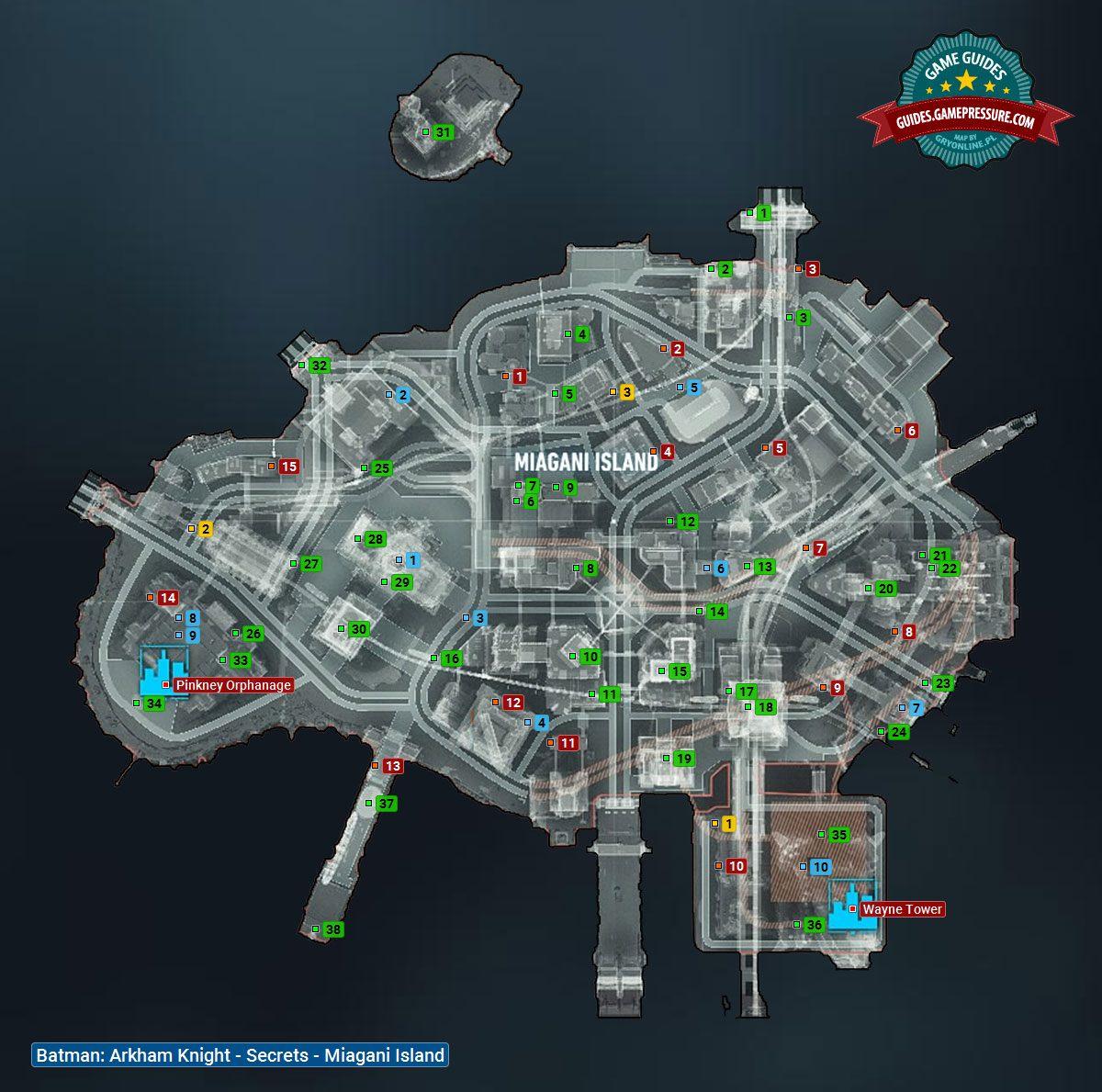 Batman Arkham Knight Map Map of Miagani Island | Collectibles   Miagani Island   Batman