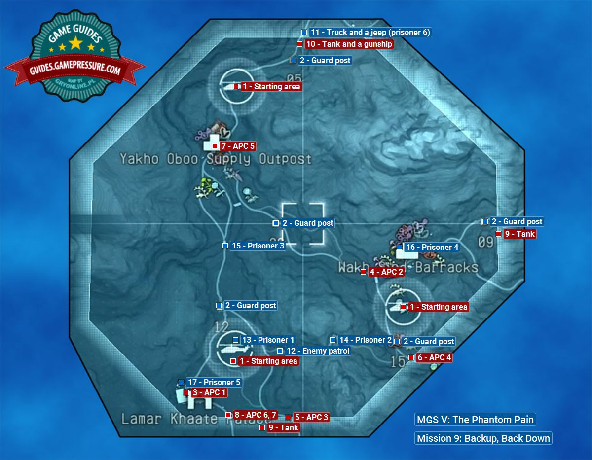 Backup, Back Down - mission map | Walkthrough MGS V: TPP Guide