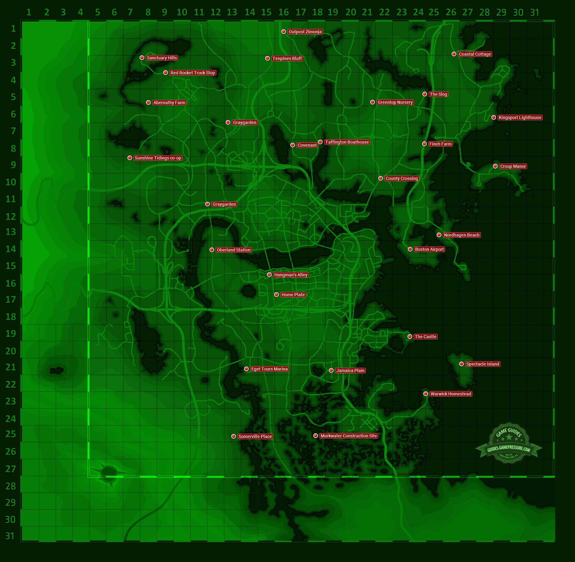 Fallout 4 - World map: Settlements