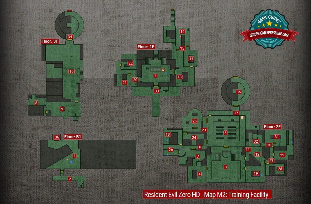 Map [M2] | Umbrella Training Facility Walkthrough - Resident Evil