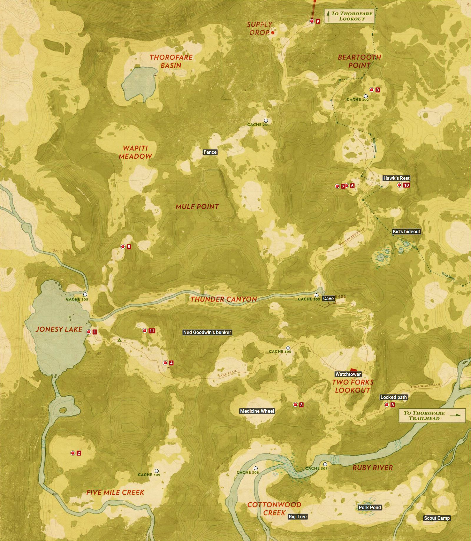 World map the basics firewatch game guide walkthrough firewatch world map gumiabroncs Image collections