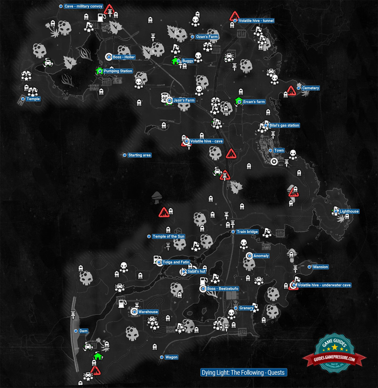 Dying Light Map Quests map | Additional novelties of The Following   Dying Light