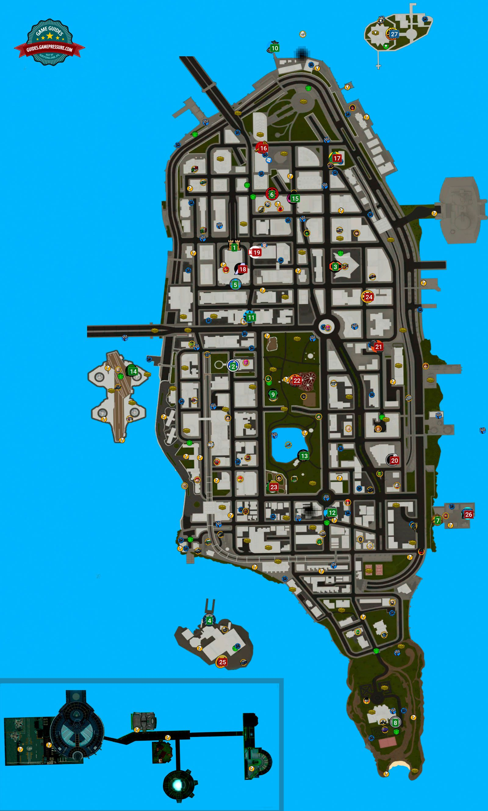 LEGO Marvel Super Heroes Map - Important Locations