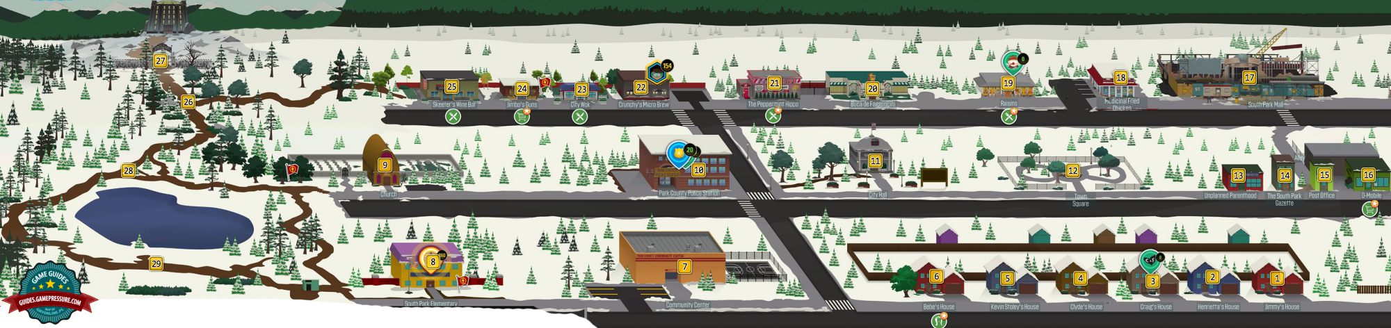 Map Of South Park Map of the Western South Park   South Park: The Fractured But