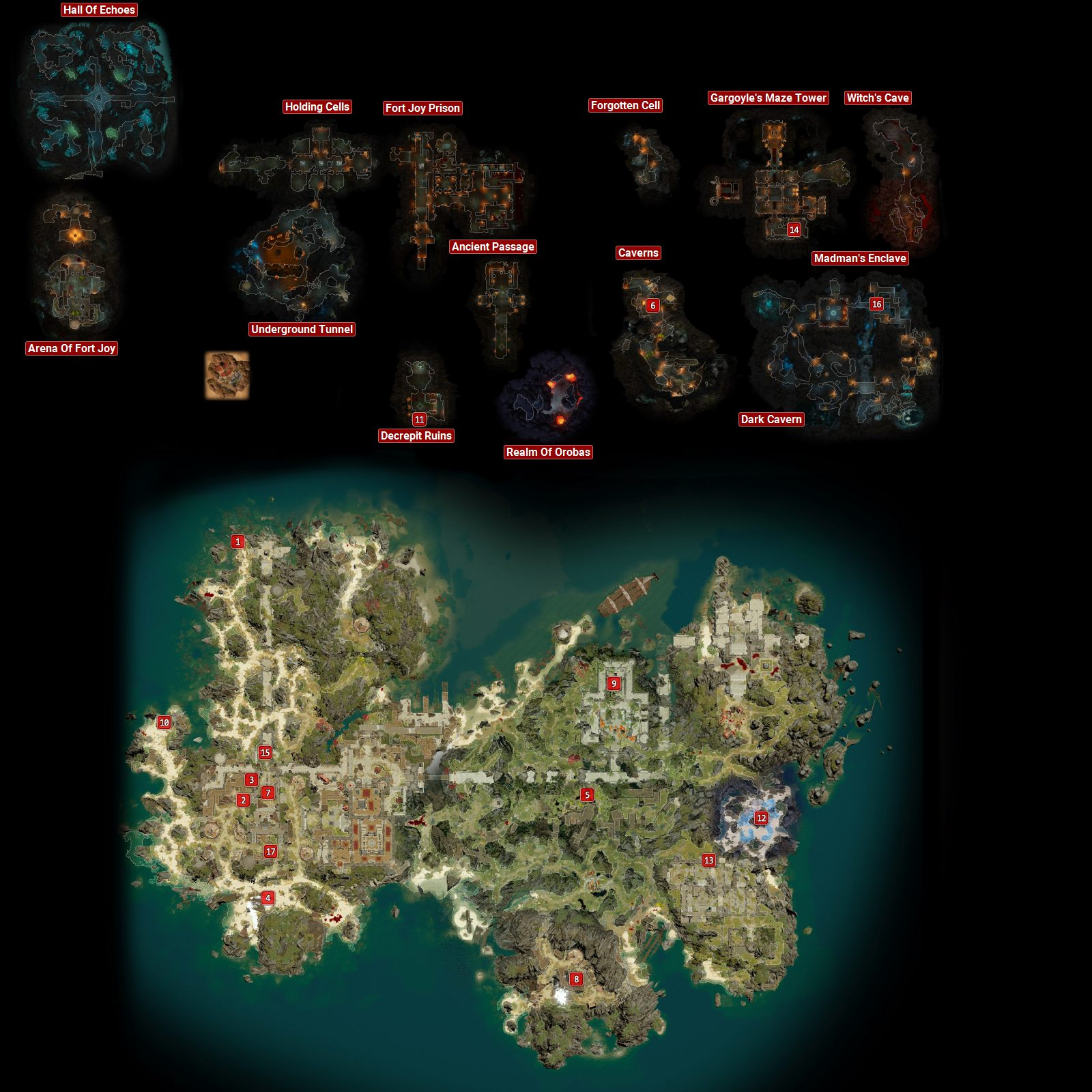 Fort Joy - map of all quests in Fort Joy