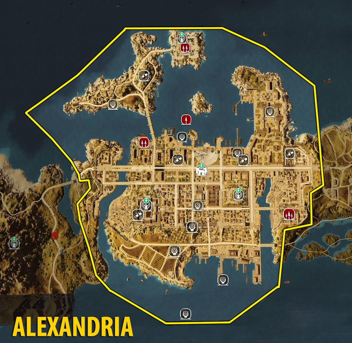 Map Of Alexandria Tombs Papyrus Puzzles And Secrets Assassin S Creed Origins Guide Gamepressure Com
