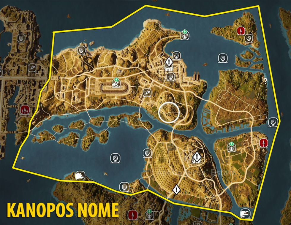Map Of Kanopos Nome Tombs Papyrus Puzzles And Secrets Assassin S Creed Origins Guide Gamepressure Com