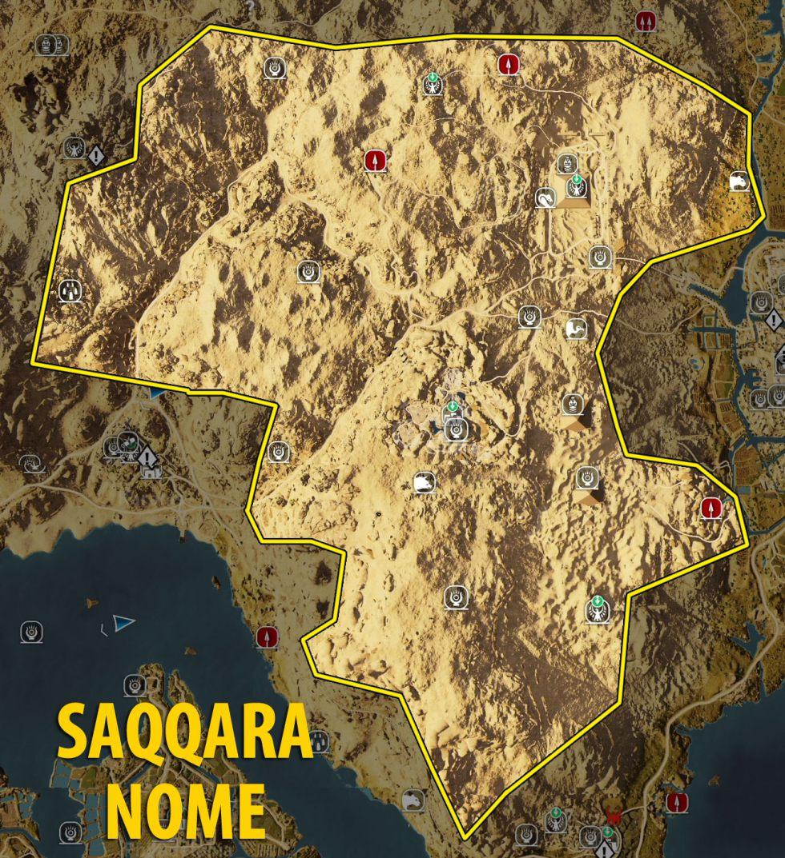 Map Of Saqqara Nome Tombs Papyrus Puzzles And Secrets