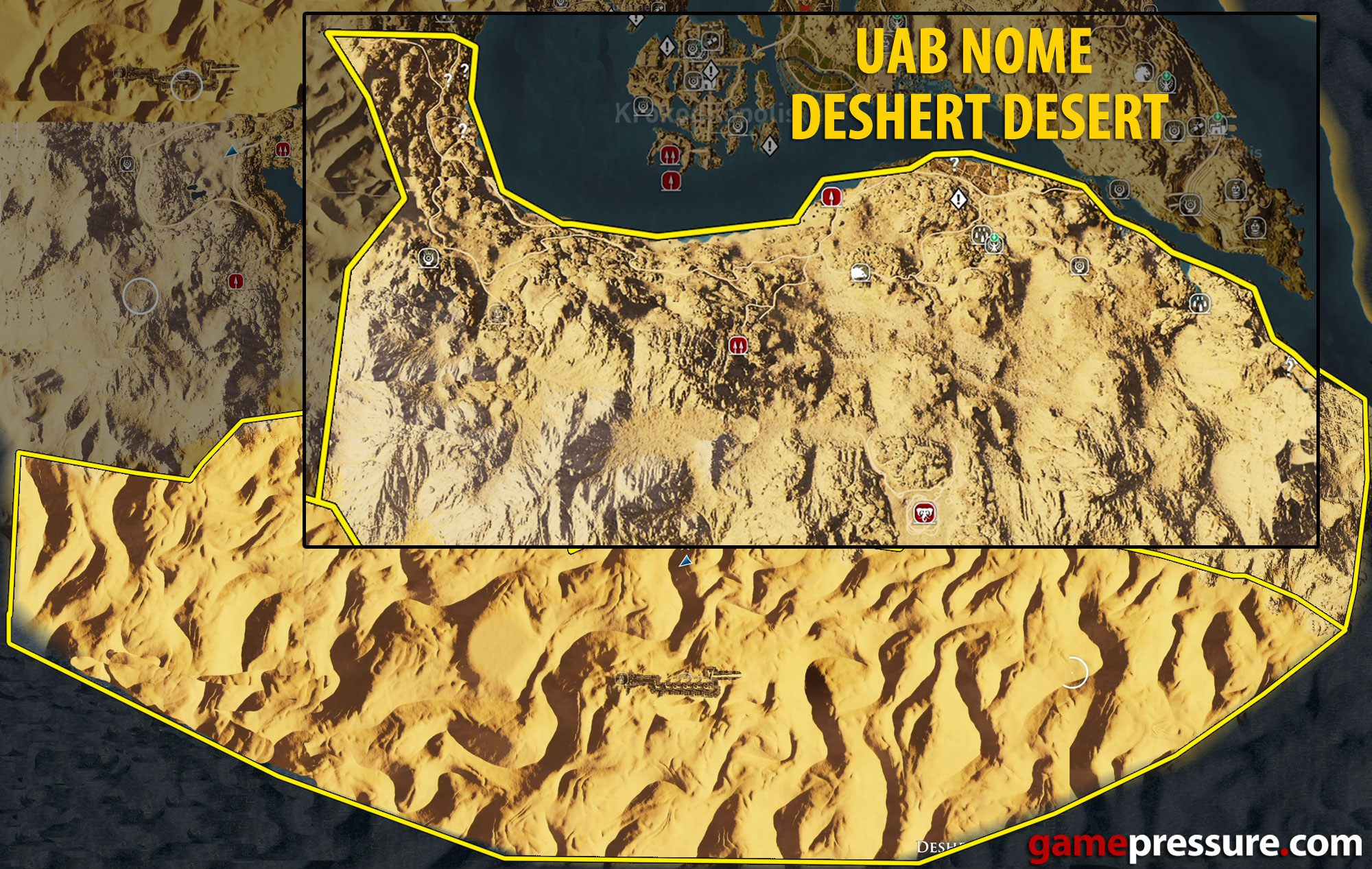 Carte Black Desert Assassins Creed Origins.Map Of Uab Nome And Deshert Desert Tombs Papyrus Puzzles