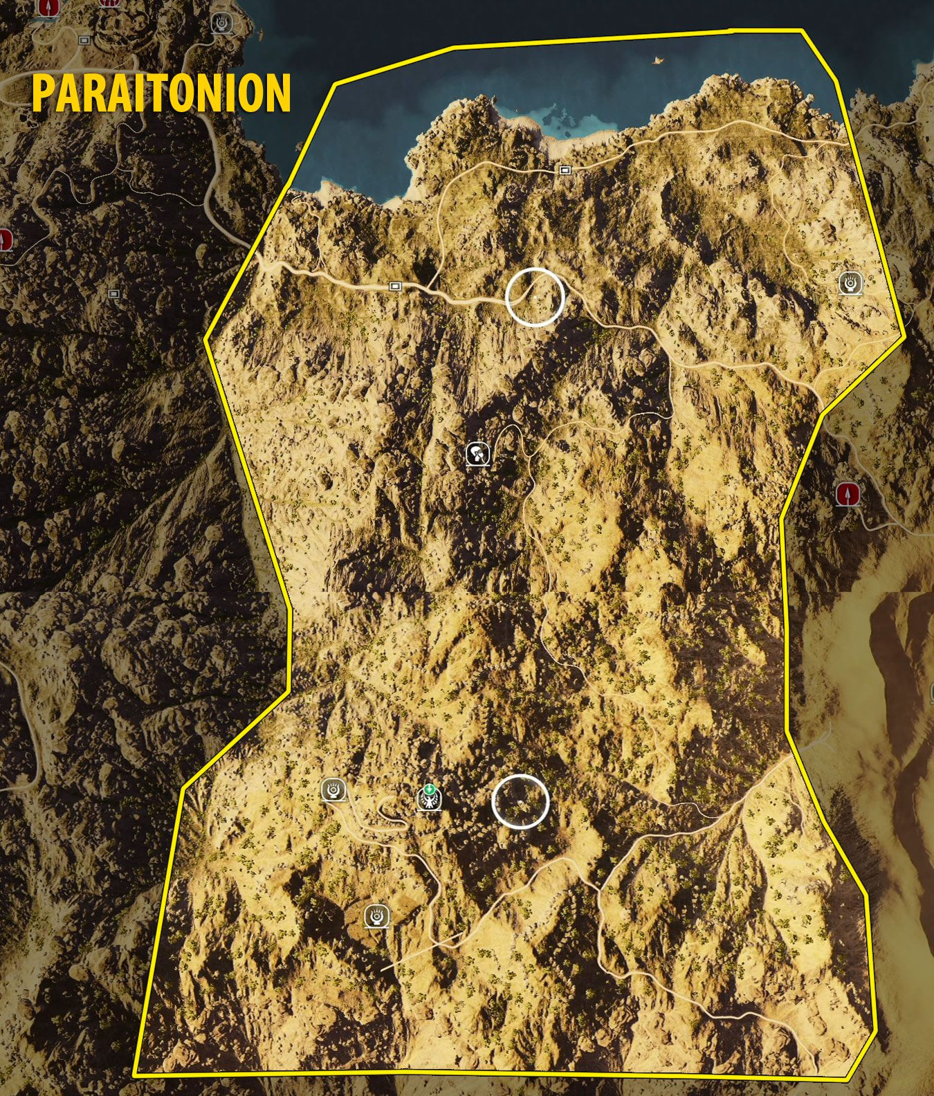 Carte Black Desert Assassins Creed Origins.Map Of Paraitonion Tombs Papyrus Puzzles And Secrets