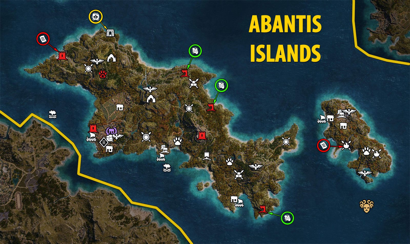 Abantis Islands Map in Assassin's Creed Odyssey