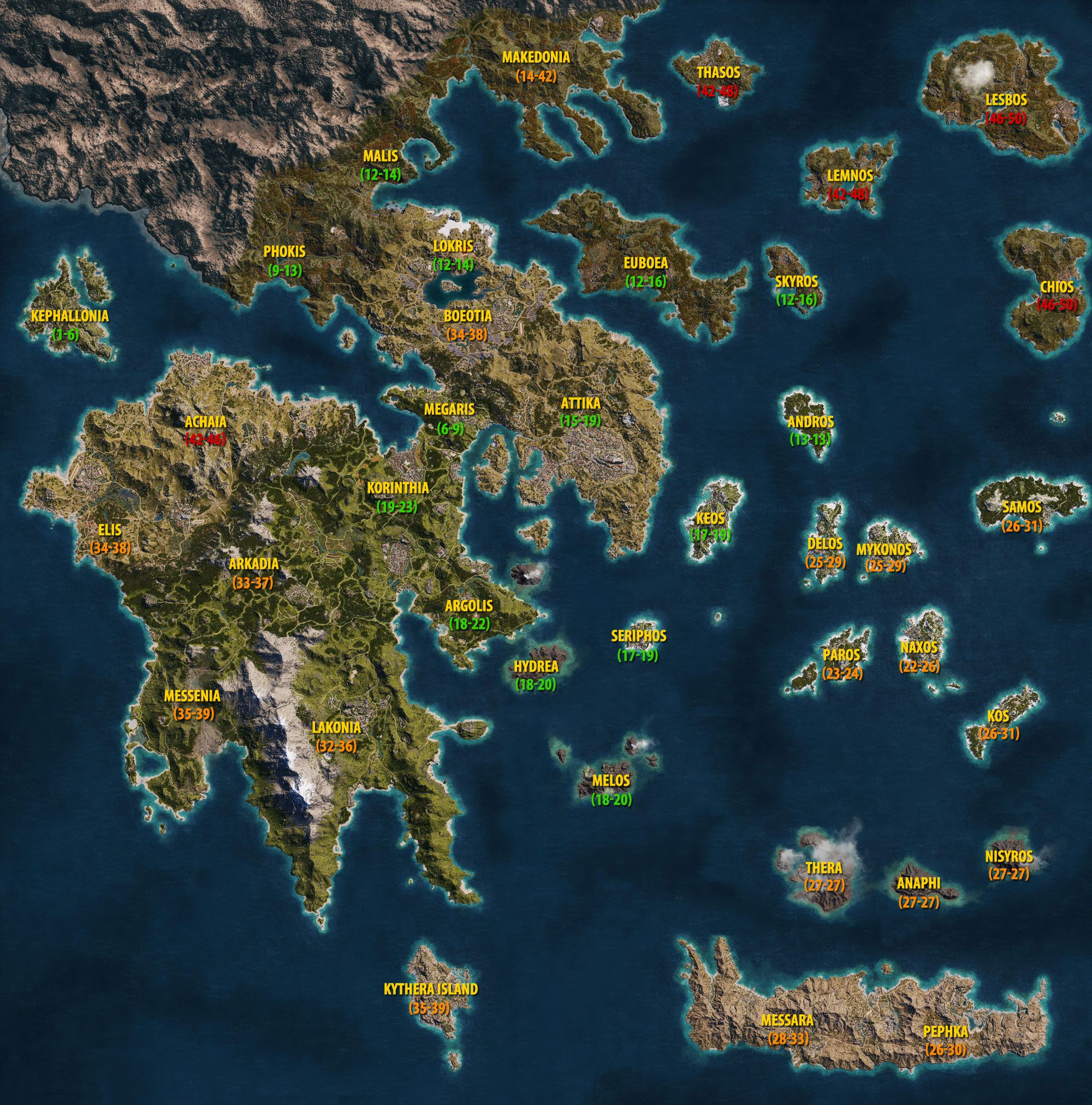World Map and level requirements in Assassin's Creed Odyssey