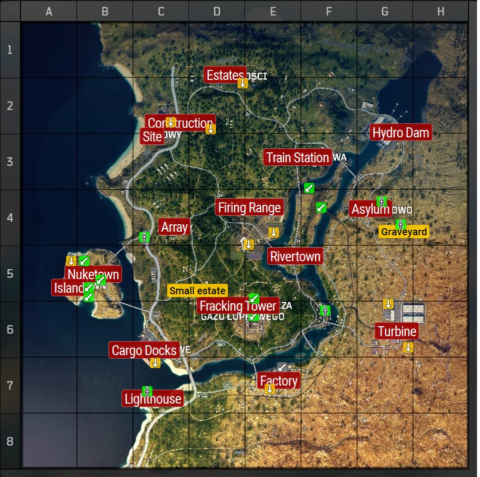 Map and description of interesting locations in Black Ops 4