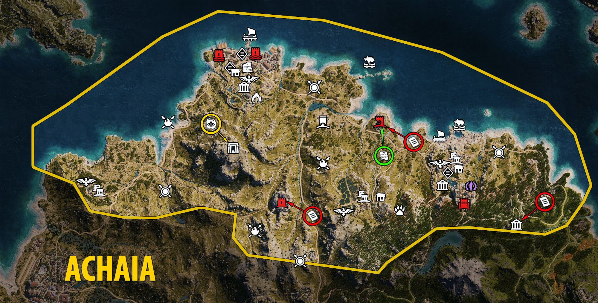 Achaia Map - Assassin's Creed Odyssey