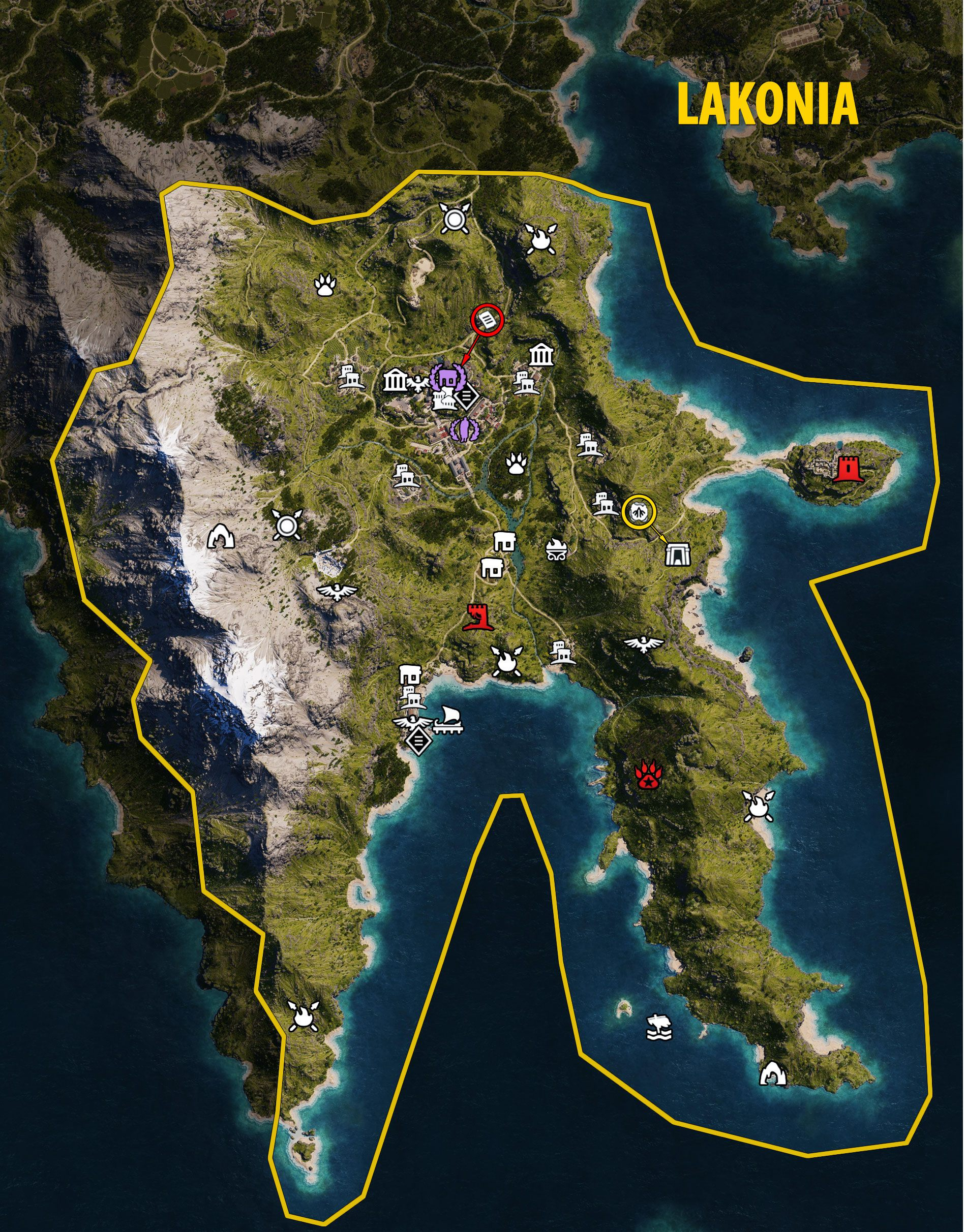 Lakonia - Assassin's Creed Odyssey map